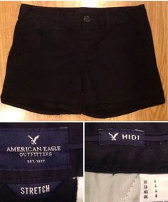 AMERICAN EAGLE - Women's Size 4 - Black MIDI Length Stretch Shorts - XLNT Cond #AmericanEagleOutfitters #MidiLength