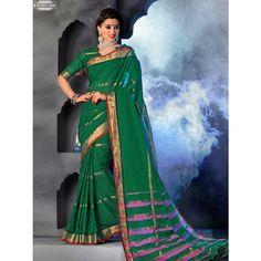 Chennai Express Cotton  Green Designer Sarees