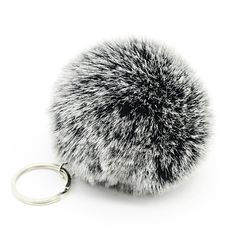 8cm White tip fur pom pom ball keychain 1 ball 2 colors women bag key chains pompon porte clef pompom de fourrure