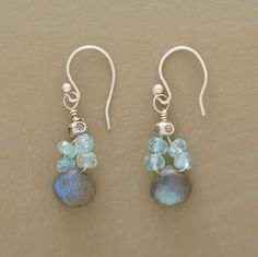 """Not that you can't wear them by day, too. Iridescent labradorite briolettes are suspended from clusters of apatite rondelles, swinging on sterling silver French wires. Handmade in USA exclusively for Sundance. 1-1/4""""L."""