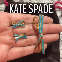 Kate Spade Blue Bow Earring and Bracelet Set Kate Spade Blue Bow Earring And Bracelet Set. Worn a handful of times. Earrings have been cleaned with rubbing alcohol. Very nice set, clean and no tarnishing. Comes with KS pouch. kate spade Jewelry
