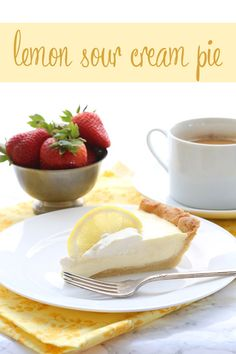 Low Carb Lemon Sour Cream Pie with an easy press-in pie crust. Grain-free, sugar-free.
