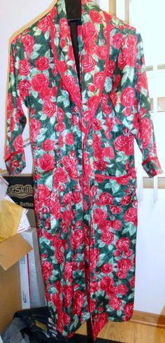 Victorias Secret SMALL floral robe red green roses pockets belt #VICTORIASSECRET #Robes