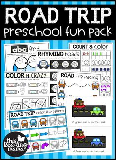 Printable Preschool Packs - FUN Packs for Learning - This Reading Mama Road Trip Activities, Road Trip Games, Phonics Activities, Preschool Games, Free Preschool, Preschool Printables, Preschool Learning, Learning Activities, Preschool Class