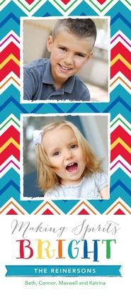 Go bold this holiday with a colorful chevron print photo card.