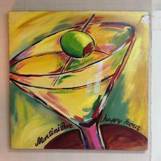 Www.sassyfrassco.com Sassy Frass Company in Anacortes WA. Abstract art, martini glass, martini painting, olive art, happy hour art.