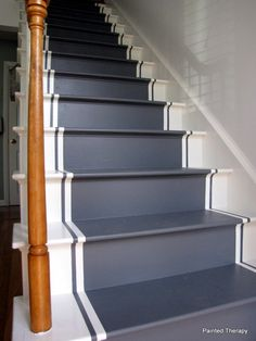 Stair Style – Makeover Your Stairs! • Lots of Ideas and Tutorials! 'painted therapy' shows you how to paint your stairs, complete with this cool stripe!