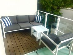 Terrace furniture white with gray seats