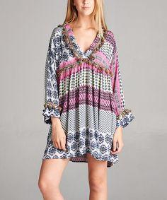 Pink Geo-Stripe Fringe-Trim Tunic Dress
