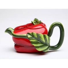 11 ounce Ceramic Dark Red Pepper Teapot with Green Stem Handle