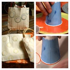 Craft Tip! Paint with Paper Cups to make easy circles. perfect for a quick tote bag or t-shirt painting.