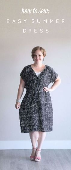 easy sewing tutorial for this simple dress made from a free tee pattern