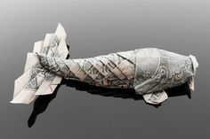 art, recycled materials, Craig Folds Five, origami money, origami, money, origami animals, us dollars