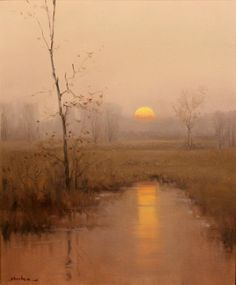 """This nice tonalist landscape painting titled """"Sunrise"""" was painted by American artist Dennis Sheehan (b. Sheehan was born in Boston, Massachusetts and went on to become well known as a tonalist Abstract Landscape, Landscape Paintings, Landscape Arquitecture, Beautiful Landscapes, Land Scape, Painting Inspiration, Watercolor Art, Landscape Photography, Photography Ideas"""