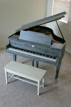 Shabby Chic Baby Grand Piano - UNIQUE. $4,500.00, via Etsy.