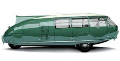 It's the Dymaxion car. It seats 11, goes 120 miles per hour, and gets 30 miles to the gallon. It also has 3 wheels, a periscope in place of a rear-view mirror, and the ability to make a U-Turn along the 20 feet length of the entire car.