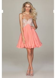 Elegant Chiffon A-line Sweetheart Neckline Appliques And Beaded Short Length Homecomg Dress/Cocktail Dress