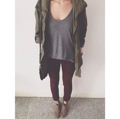 Simply Gray Shirt, Navy Green Jacket, Maroon Leggings & Tan Booties.