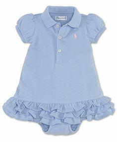 Ralph Lauren Baby Girls Dress, Baby Girls Solid Mesh Cupcake Dress