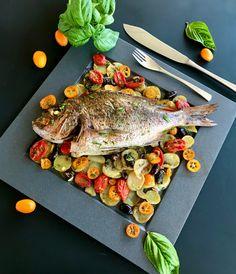 Φαγκρί ψητό στο φούρνο με ελιές, κουμκουάτ, ντοματίνια, πατάτες και βασιλικό Cooking, Kitchen, Cuisine