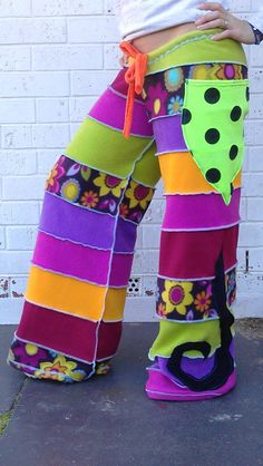 NEW DESIGNpatchwork flare pants ooakfunky trunx by squashdesigns, $90.00