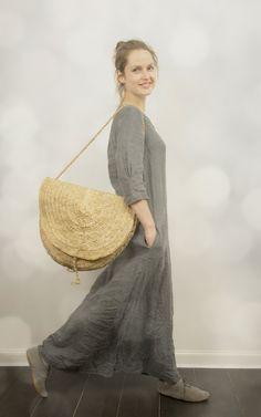 Long Linen Dress in Grey