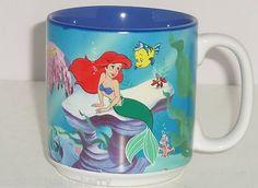 Disney LIttle Mermaid Ariel Ursula Flounder Tea Coffee Mug Retired Vintage $40.00