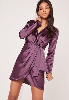 Missguided - Silky Long Sleeve Wrap Shift Dress Dusky Purple