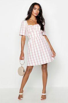 75eb7a896eba Gingham Sweetheart Skater Dress #dressesboohoo