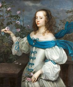 (ca. Countess Beata Elisabeth von Königsmarck attributed to Hendrick Munnichhoven. Classic elements of Baroque fashion - wide, shallow neckline, full sleeves gathered into tiers of puffs, and rich fabrics. The ever-present Baroque pearl Historical Art, Historical Clothing, Historical Dress, Female Clothing, Utrecht, English Restoration, 17th Century Fashion, 18th Century, Oil On Canvas