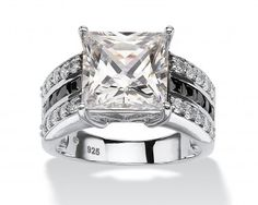 chicmarket.com - Platinum over Sterling Silver 3.43 TCW Princess-Cut Cubic Zirconia Engagement Anniversary Ring - White - 8