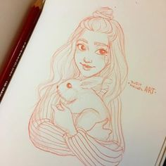 """Quick night sketch before keep working on commissions 😌🐰 * I watched an add today about the whole """"giving animals as presents"""" situation. Tumblr Drawings, Pencil Art Drawings, Art Drawings Sketches, Amazing Drawings, Love Drawings, Beautiful Drawings, Character Drawing, Character Design, Drawing People"""
