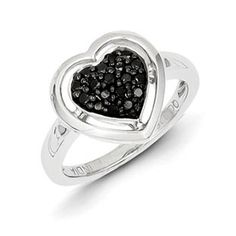1/4 Carat Black White Diamond Heart Shape Ring In Sterling Silver Available Exclusively at Gemologica.com