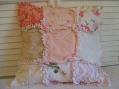 Crib Rag Quilt Style Pillow Cover Coral Pink Made by CottageDome