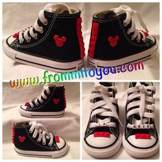 Custom Converse (Junk Chucks) Chuck Taylor Mickey Mouse Lego theme. Custom name on the shoe laces. Order at www.frommitoyou.com