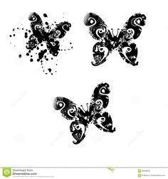 Illustration about Butterfly Silhouettes with abstract motifs. Illustration of filigree, foliage, clipart - 69486970