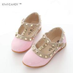 Kids Girls Gladiator Flat Walking Princess Shoes Rivet Studded Toddlers Flats F3