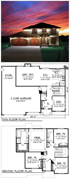 #Prairie #HousePlan 73143 | In just under 2,200 square feet, you'll be surprised by the amenities you'll find in this home. Dad's office lies just to the right as you enter while the main living area beckons you into the home from directly ahead. Upstairs, the master suite features a step ceiling, spacious walk-in closet and private bath while three additional bedrooms have direct access to the full bath and laundry area just off the hallway.