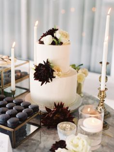 A modern chic fall wedding in Palm Springs with a black, white and deep red color palette. The bride works in the event industry and brought on her years of experience to create an unforgettable day.