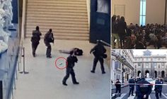 "#DailyMailUK .... ""A machete-wielding man shouting 'Allahu Akbar' was shot five times in the stomach outside the Louvre in Paris this morning after he attacked four soldiers.""...  http://www.dailymail.co.uk/news/article-4187460/Lovre-evacuated-Paris.html"