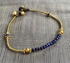 Lapis lazuli deep blue & brass anklet