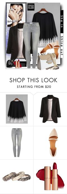 """""""Black Crochet T-shirt with Shein"""" by manuela-cdl ❤ liked on Polyvore featuring Guide London, Paige Denim, Charlotte Russe, Ugo Cacciatori and Lipsy"""