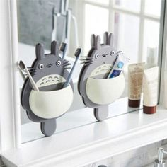 Buy Lovely Totoro Suction Wall Type Toothbrush Holder Unisex Multifunction Toothbrush Toothpaste Storage Rack Kids Bathroom Household Supplies DES SUM at Wish - Shopping Made Fun Bathroom Organisation, Bathroom Shelves, Bathroom Storage, Home Organization, Bathroom Ideas, Bathroom Cabinets, Wall Mounted Toothbrush Holder, Toothbrush And Toothpaste Holder, Totoro
