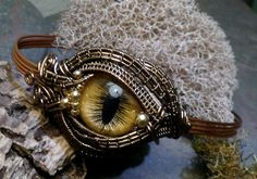 Gothic Steampunk Eye Bracelet with Golden Eye