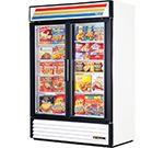 True 54 Two Section Display Freezer w/ Swing Doors - Bottom Mount Compressor, White, Glass Hinges, Glass Door, Upright Freezer, Compact Refrigerator, Restaurant Equipment, Kitchen Equipment, Swinging Doors, Point Of Purchase, White Laminate