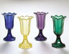 Tulip Vases, ca. 1850, Boston and Sandwich Glass. Company, pressed glass, Peabody Essex Institute