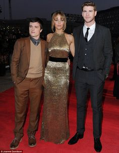 Jennifer Lawrence was joined by Josh Hutcherson and Liam Hemsworth at the London premiere of Hunger Games today.