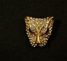 Vintage Brooch Rhinestone Cat Lion Cougar Face Brooch Paste Brooch Vintage Jewelry Jewellery Figural Brooch. $24.00, via Etsy.