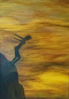 """""""Salto al vacío"""", acrílico, 50 x 70, 2015. #arte #art #artesvisuales #pintura #acrilico #salto #coraje #inspiracion #salirdezonadeconfort"""