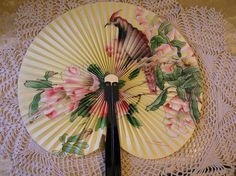 Vintage Paper Fan With Blue  Butterfly and Pink Rose Flowers and Green Foliage, Accordian Fan, Collector's Item by SterlingHeirloom on Etsy